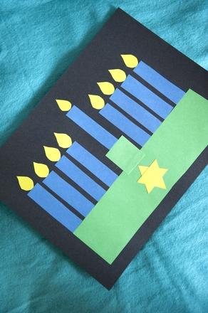 Hanukkah menorah shape collage activity for Menorah arts and crafts