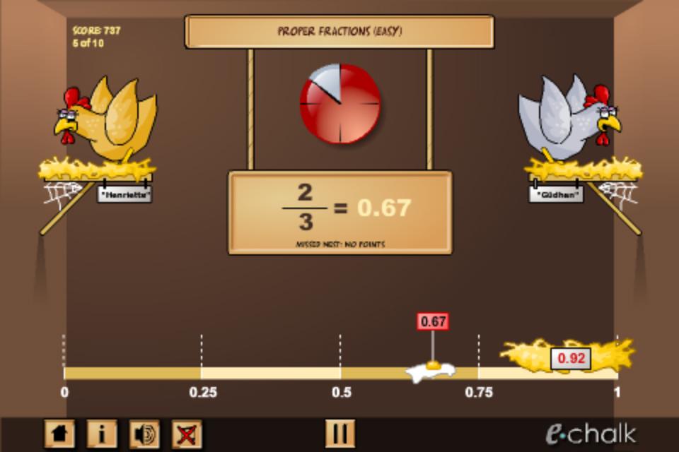 math fractions fruit splash