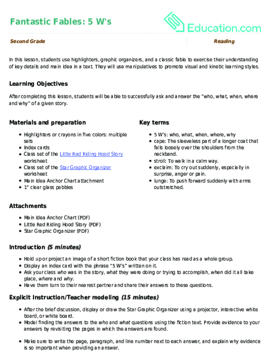 Creative Writing Lesson Plan 2nd Grade - Related activities