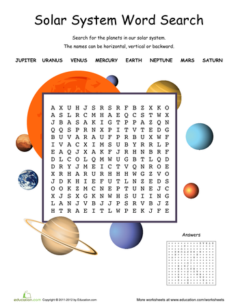 Space and Solar System Worksheets