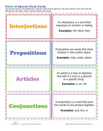 Parts of Speech   Printable Workbook   Education.com