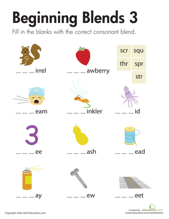 Reading Practice: Consonant Clusters | Printable Workbook | Education ...