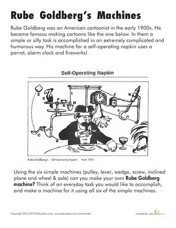 simple machine worksheet middle school