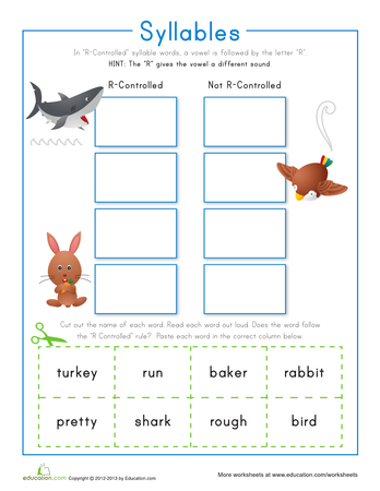 Dividing syllables worksheets for 2nd grade