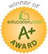 Winner of Education.com A+ Award for great educational products